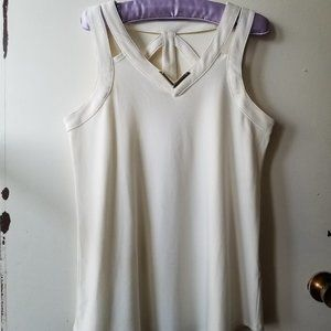 Cream V-Neck Tank Top with Straps at the Back